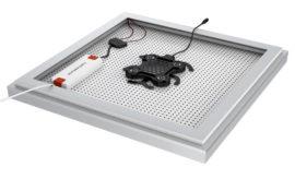Rahmen-Ansicht rückseitig mit LED-Konverter. Körperschall-Soundsystem und Lightboard-Platte